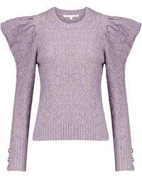 Veronica Beard Novah Pointelle Sweater - Purple