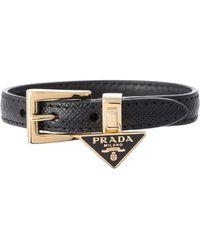 Prada Bracelet en cuir Saffiano - Noir