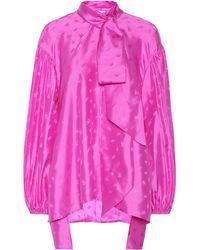 Chloé Lavallière Silk Jacquard Blouse - Pink