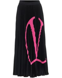 Valentino Vlogo Pleated Jersey Midi Skirt - Black