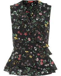 Altuzarra Depeche Floral Silk Top - Black