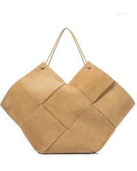 Bottega Veneta - Shopper Medium in suede intrecciato - Lyst