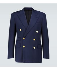 Ralph Lauren Purple Label Double-breasted Wool Blazer - Blue