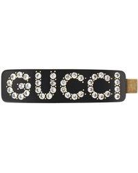 Gucci Embellished Logo Hair Clip - Black