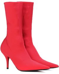 Balenciaga Ankle Boots Knife aus Stretch-Jersey - Rot
