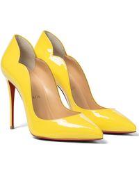 Christian Louboutin Pumps Hot Chick 100 aus Lackleder - Gelb