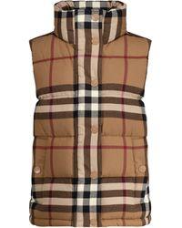 Burberry Vintage Check Down Vest - Natural