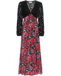 RIXO London Melanie Floral Silk Midi Dress - Red