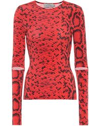 Preen By Thornton Bregazzi Snake-print Stretch-jersey Top - Red