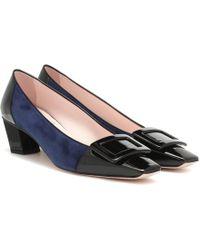 Roger Vivier Belle Vivier Suede And Leather Court Shoes - Blue