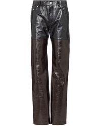 Peter Do Pantalon droit à taille haute en cuir - Noir