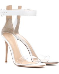 e3d6691ef58f Gianvito Rossi Suede Lace-up Sandals in Gray - Lyst