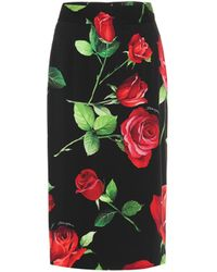 Dolce & Gabbana Floral Stretch-silk Midi Skirt - Black
