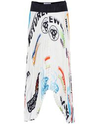 Marine Serre Logo Pleated Midi Skirt - White