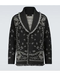 Alanui Bandana Jacquard-knitted Cardigan - Grey