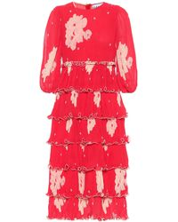 Ganni Robe midi en georgette plissée à imprimé fleuri - Rouge