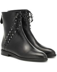 Alaïa Leather Ankle Boots - Black