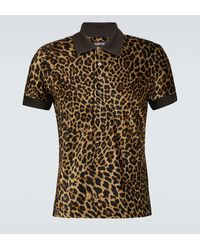 Tom Ford Polo de estampado de leopardo - Marrón