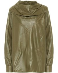 Dodo Bar Or Cowl-neck Leather Top - Green