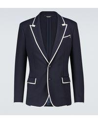 Dolce & Gabbana Blazer en jersey stretch - Bleu