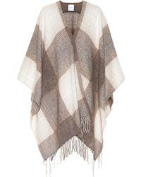 Agnona - Checked Silk, Wool And Alpaca Cape - Lyst