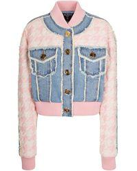 Balmain Veste en jean et tweed - Bleu