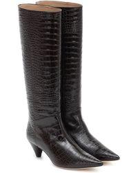 JOSEPH Croc-effect Leather Knee-high Boots - Black