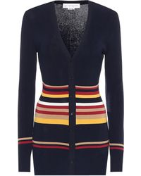 Victoria Beckham Striped Stretch Cotton-blend Cardigan - Blue
