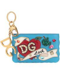 Dolce & Gabbana Leather Keychain Card Holder - Blue