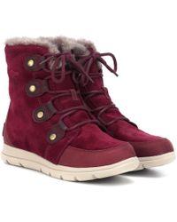 Sorel Explorer Joan Suede Boots - Red