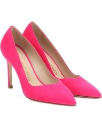 Stuart Weitzman Anny Neon Suede Court Shoes - Pink