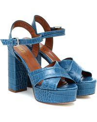 Paris Texas Croc-effect Leather Sandals - Blue