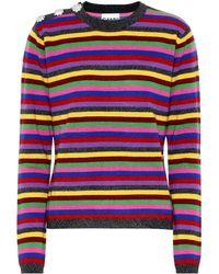 Ganni Crystal-embellished Striped Cashmere Jumper - Multicolour
