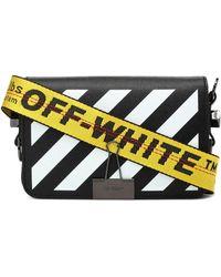 Off-White c/o Virgil Abloh Mini Diag Printed Leather Shoulder Bag - Black