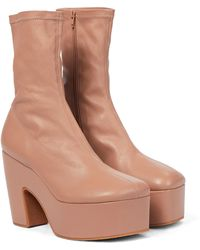 Dries Van Noten Leather Platform Ankle Boots - Natural