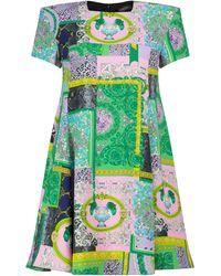Versace Barocco Printed Minidress - Green
