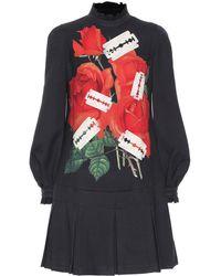 Undercover Printed Wool-blend Minidress - Black