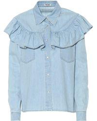 Miu Miu - Bluse aus Denim - Lyst