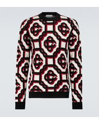 CASABLANCA Gemusterter Pullover aus Wolle - Mehrfarbig