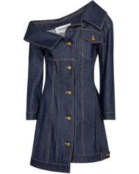 Monse Robe à encolure bardot en jean - Bleu