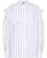 MSGM Camicia a righe in cotone con ruches - Bianco