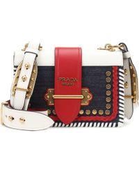 3fa2339e6904 Prada Cahier Velvet And Leather Cross-body Bag - Lyst