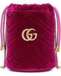 Gucci GG Marmont Mini Velvet Bucket Bag - Multicolour