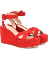 Gianvito Rossi Billie Suede Platform Sandals - Red