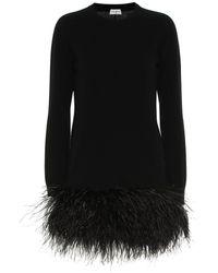 Saint Laurent Feather-trimmed Cashmere Minidress - Black
