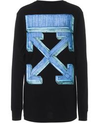Off-White c/o Virgil Abloh Marker Arrows Cotton Jersey Top - Blue