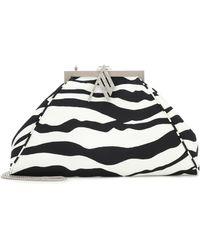 The Attico Alma Zebra-print Satin Clutch - Black