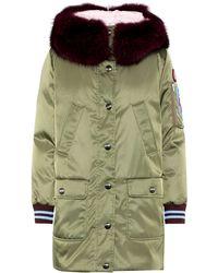 Miu Miu Fur-trimmed Down Coat - Green