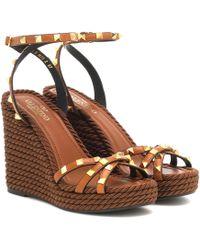 Valentino Rockstud Torchon Leather Wedge Sandals - Brown
