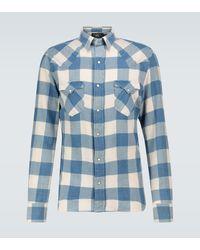 RRL Cotton-linen Checked Flannel Shirt - Blue